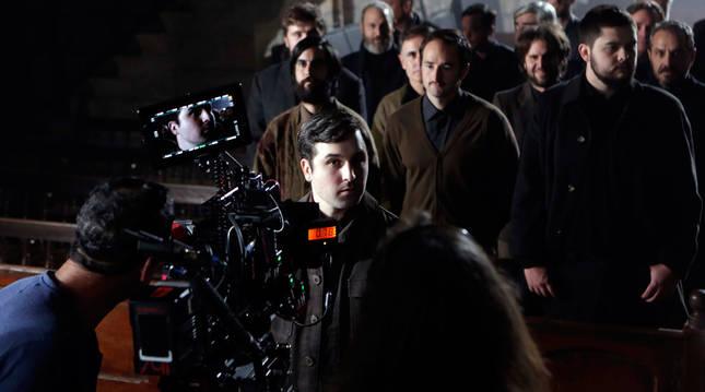 Rodaje de Hil kanpaiak , el segundo largometraje de Imanol Rayo, en Bera el pasado mes de octubre.