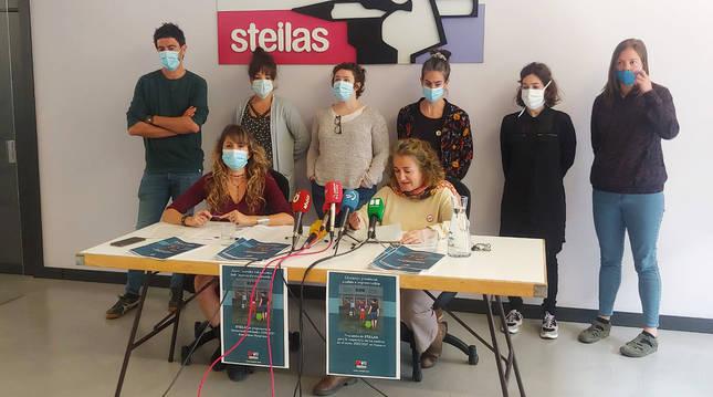 .Representantes de Steilas durante la rueda de prensa sobre la desescalada en la enseñanza navarra