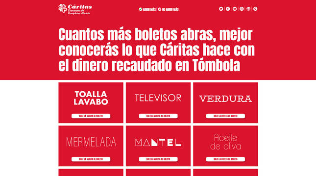 Portal www.dalelavueltaallboleto.org de la Tómbola de Cáritas 2020.