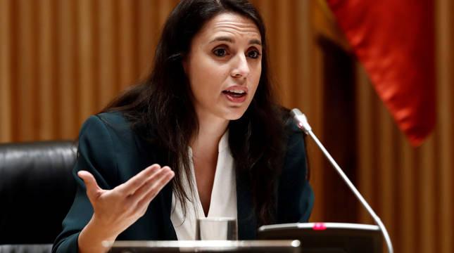 La ministra de Igualdad, Irene Montero comparece ante la Comisión de Reconstrucción celebrada este jueves en el Congreso.