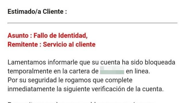 Imagen de un correo electrónico en el que piden los datos personales haciéndose pasar por entidades financieras.