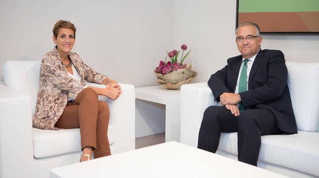 Chivite y Maya, en una visita que hizo en septiembre el alcalde.