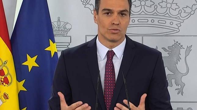 Pedro Sánchez, durante su declaración institucional.