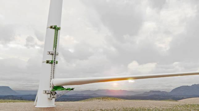 Montaje del sistema de Koalalifter para elevar una pala sobre la torre del aerogenerador.