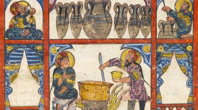 ilustración de un manuscrito árabe del siglo XIII, en Metropolitan de Nueva York. r. c.