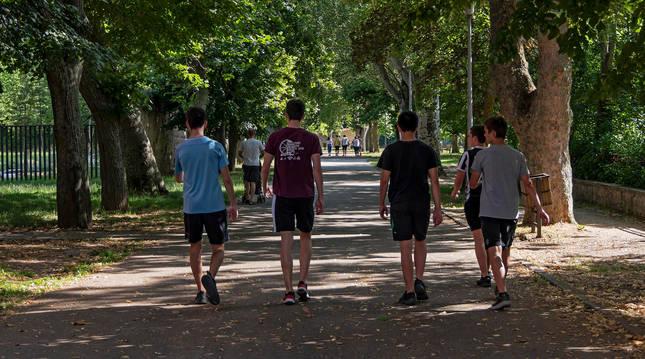 Un grupo de jóvenes, ayer en el paseo de Los Llanos de Estella.
