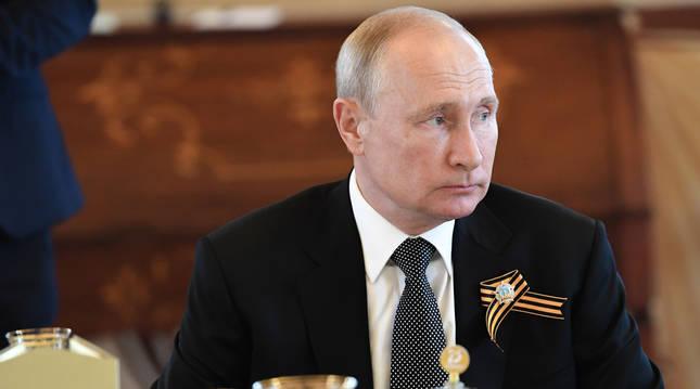 Vladimir Putin en el 75 aniversario de la victoria ante los nazis en la Segunda Guerra Mundial.
