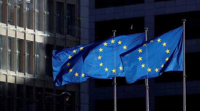 Banderas europeas en Bruselas.