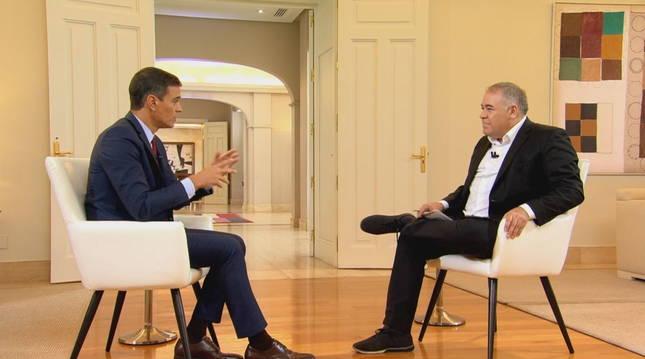 Un momento de la entrevista a Pedro Sánchez, realizada por Antonio Ferreras en La Sexta.