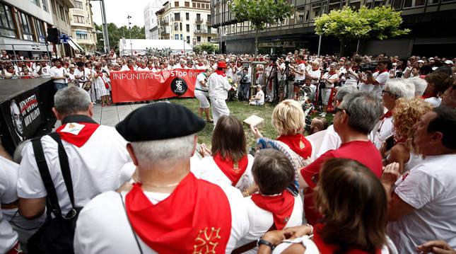 Foto del homenaje a Germán Rodríguez en los Sanfermines de 2019.