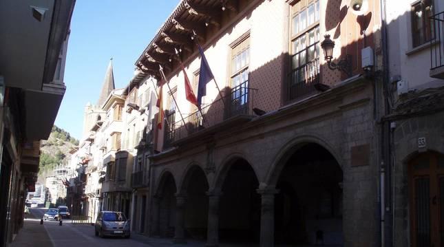 Detalle de la Casa Consistorial de Sangüesa.