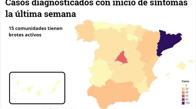 Mapa de los rebrotes con casos por comunidades a 3 de julio.