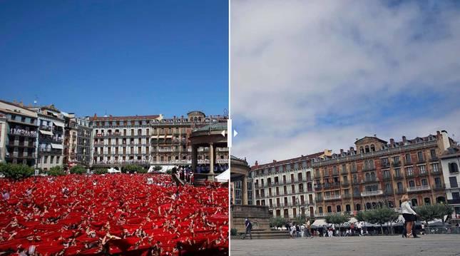 Foto de la Plaza del Castillo, este año y el año anterior.