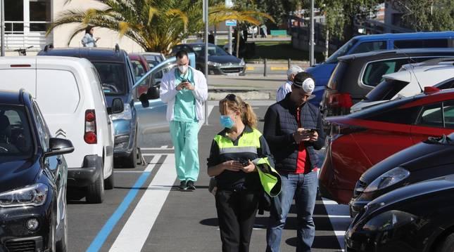Foto de la zona azul en hospitales, donde como en el resto, sigue vigente.