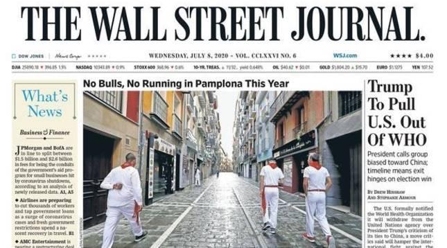 Los no Sanfermines, en la portada de 'The Wall Street Journal' de este miércoles 8 de julio