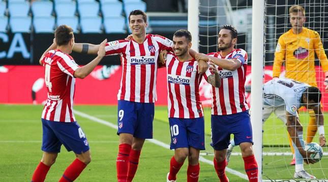 Foto de celebración del gol de Morata en el partido Celta-Atlético de Madrid.