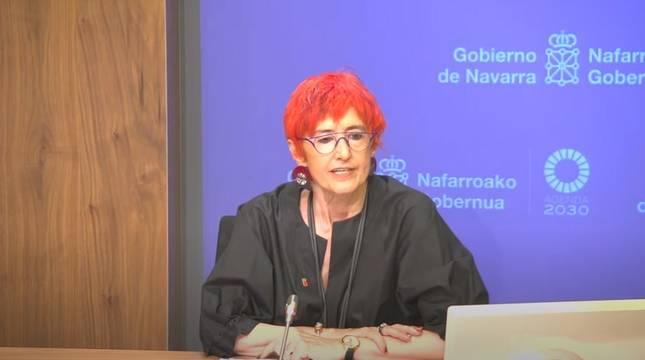 La consejera Santos Induráin, durante la rueda de prensa.