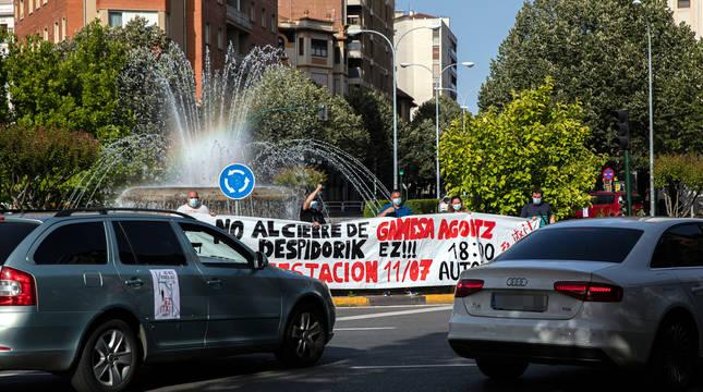 Protesta de los trabajadores de Gamesa en el centro de Pamplona.