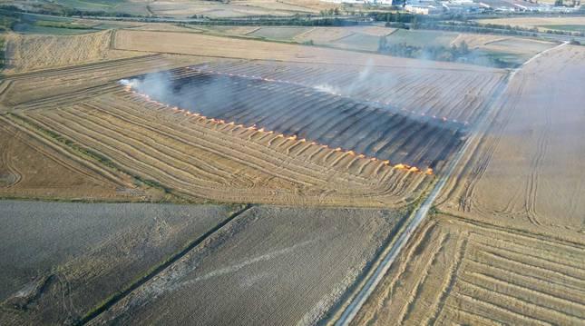 Incendio en un campo de cereal el sábado en Berrioplano.