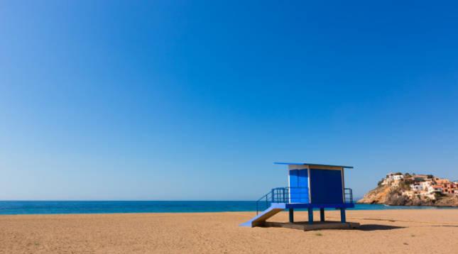 Vista general de la playa de Bolnuevo (Murcia)