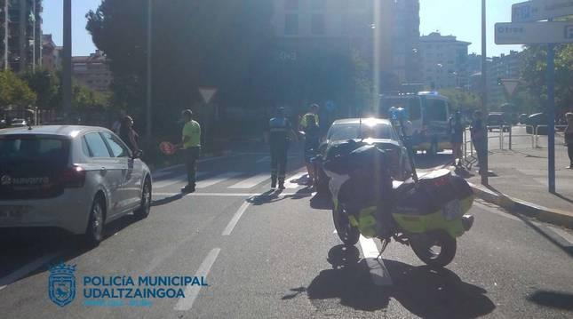 Atropello en el barrio de San Juan de Pamplona.