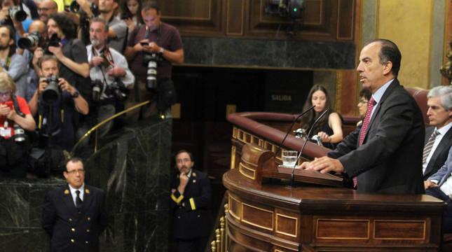 El diputado de UPN Carlos García Adanero, en una de sus intervenciones en el pleno del Congreso.
