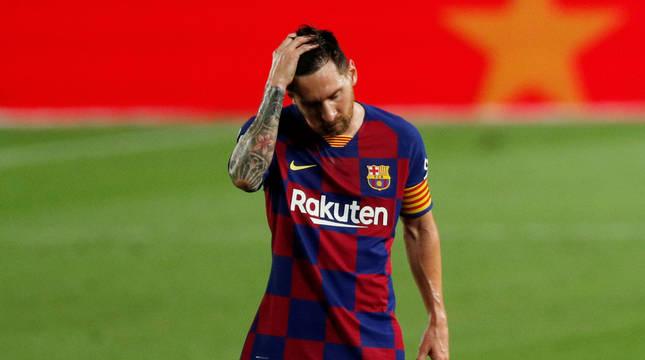 Leo Messi, en el partido contra Osasuna.