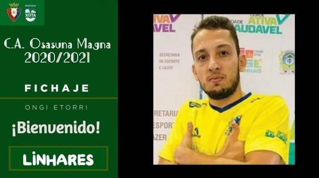 Imagen que ha publicado el club en redes sociales para anunciar el fichaje de Linhares.