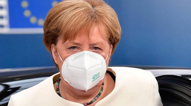 Imagen de Angela Merkel, este domingo antes de entrar en la nueva sesión negociadora de este domingo.