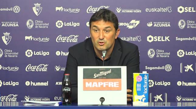 Braulio Vázquez, durante la rueda de prensa con Osasuna.