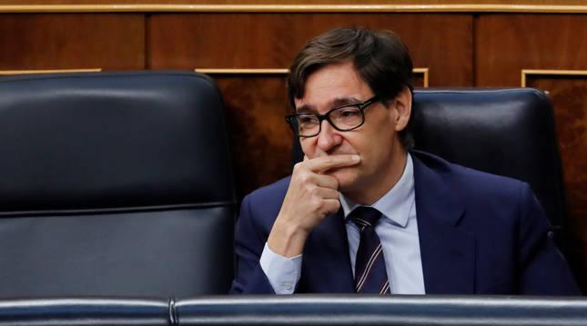 Salvador Illa durante la sesión de control al Ejecutivo que este miércoles se celebra en el Congreso.