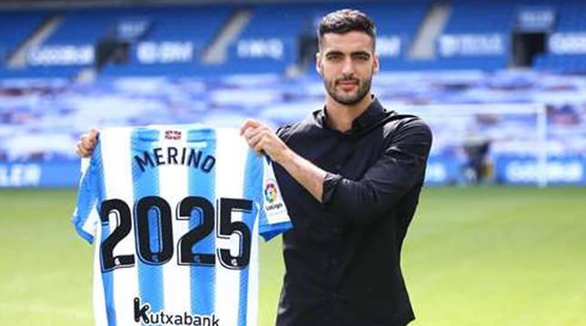 Imagen colgada en las redes sociales por la Real Sociedad con la renovación de Mikel Merino hasta 2025.