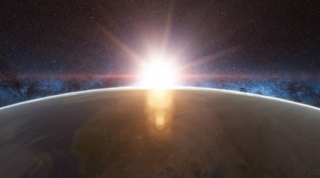 Vista de un amanecer en la Tierra
