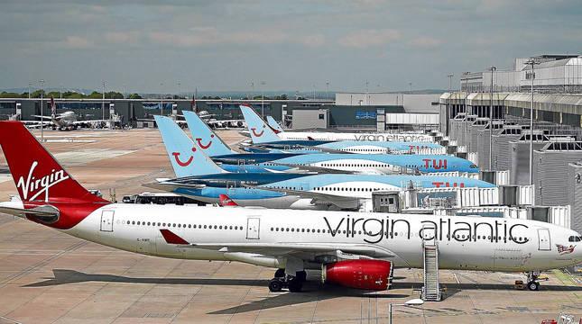 Vuelos operados por TUI en el aeropuerto de Manchester.