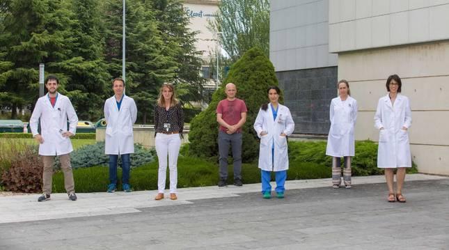 De izquierda a derecha, Goren Sáenz de Pipaón, Daniel Alameda, Josune Orbe, David Gómez-Cabrero, Esther Martínez Aguilar, Susana Ravassa y Carmen Roncal, investigadores que han participado en el proyecto.