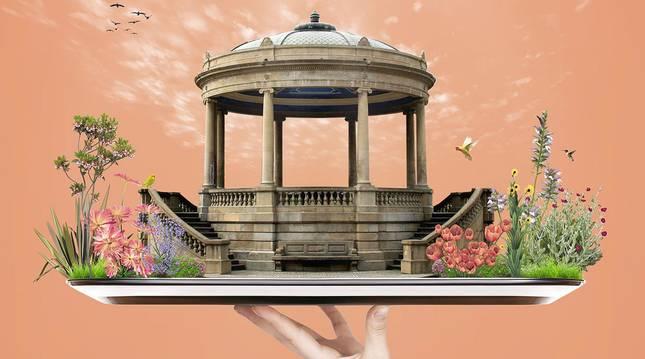 Cartel del programa Cómete Pamplona, que ofrece ventajas para los turistas que llegan a la ciudad