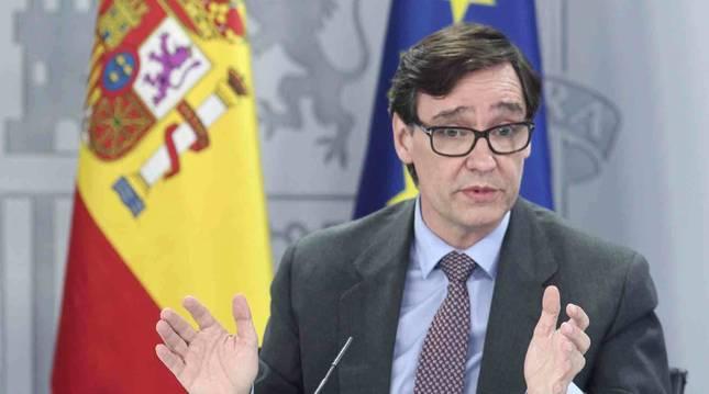 Salvador Illa comparece en rueda de prensa posterior al Consejo de ministros celebrado en Moncloa.