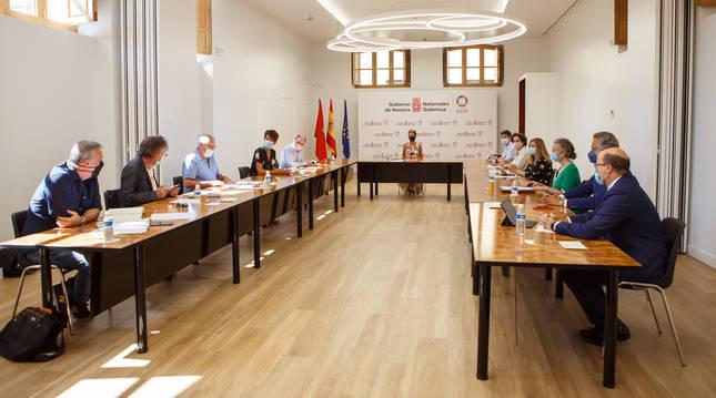 Participantes en la reunión del Consejo Social de Navarra de este miércoles, 29 de julio.