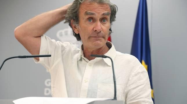 Fernando Simón, en la rueda de prensa en La Moncloa.