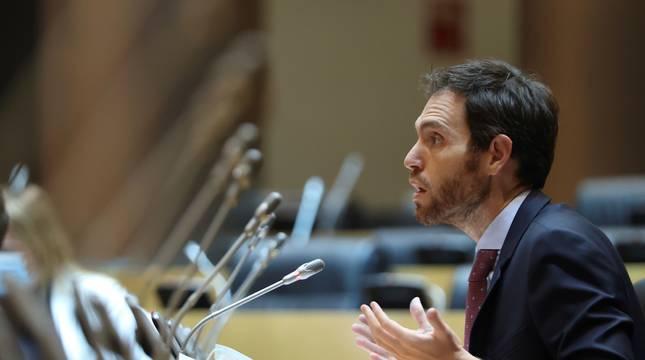El diputado de Navarra Suma, Sergio Sayas, durante su intervención en la Comisión de Sanidad del Congreso.