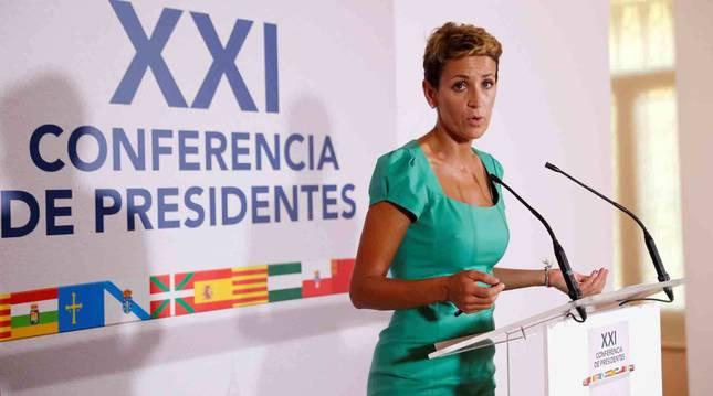 La presidenta de Navarra, María Chivite, durante la XXI Conferencia de Presidentes.