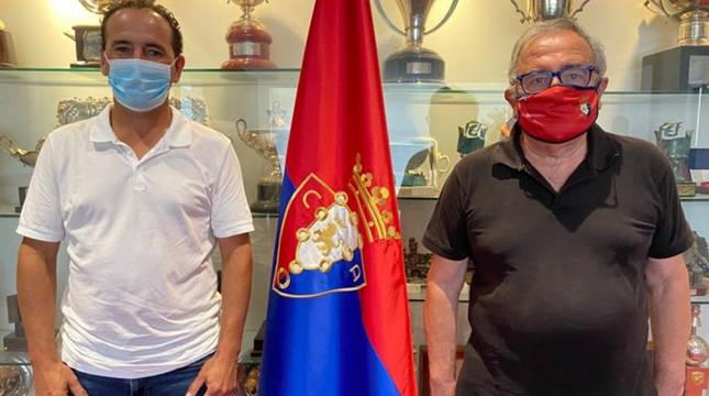 Luis Sabalza y Bautista Mena, presidentes de Osasuna y Valtierrano.