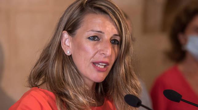Yolanda Díaz, este sábado en Palma de Mallorca.