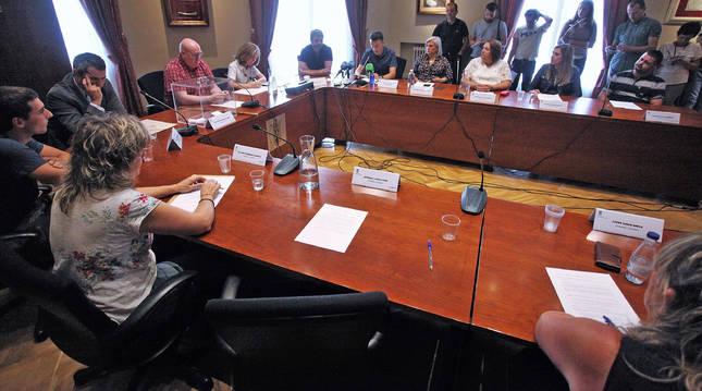 Foto del asiento vacío en el Ayuntamiento de Huarte el día de la elección de Arruiz, tras la salida del PSN.