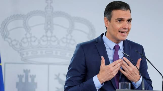 Pedro Sánchez, durante la rueda de prensa en Moncloa.