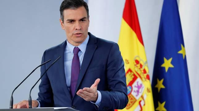 Pedro Sánchez, en la rueda de prensa en la Moncloa.