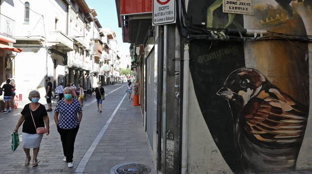 Un calle de Sangüesa durante los rebrotes de coronavirus.