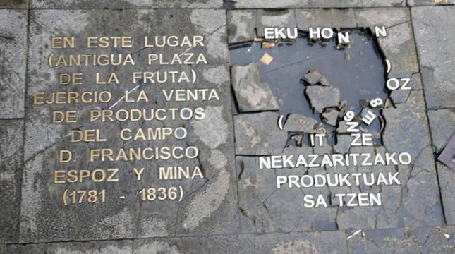 Placa atacada en Pamplona.