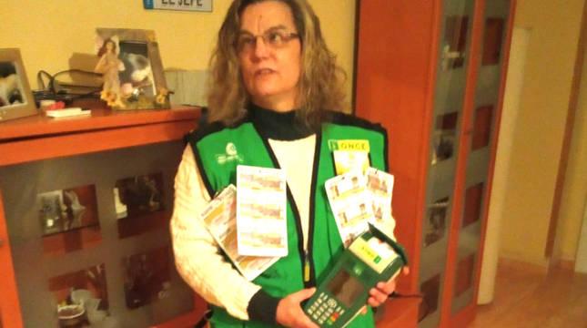 La vendedora de la ONCE Rosa Pinto, que vendió el boleto premiado.