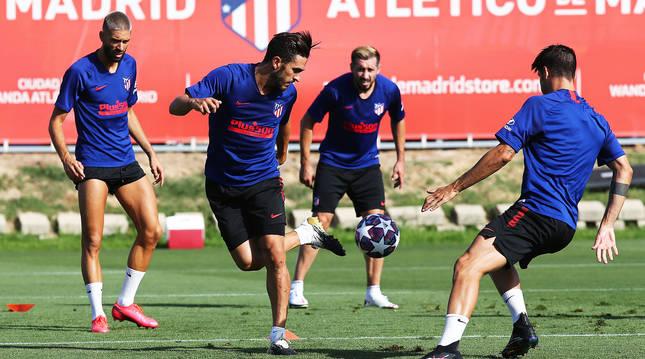 Entrenamiento del Atlético de Madrid esta semana.